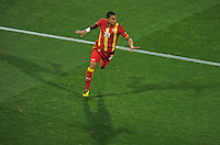 Kevin Prince Boateng of Ghana celebrates his goal. USA vs Ghana in the 2010 FIFA World Cup at Royal Bafokeng Stadium in Rustenburg, South Africa on June 26, 2010.