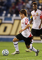 HOOVER, AL - DECEMBER 07, 2012:  Tsubasa Endoh (13) of the University of Maryland against Georgetown University during an NCAA 2012 Men's College Cup semi-final match, at Regents Park, in Hoover , AL, on Friday, December 07, 2012. The game ended in a 4-4 tie, after overtime Georgetown won on penalty kicks.