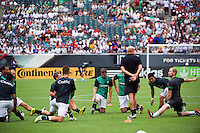 Celtic F. C.players warm up prior to playing Real Madrid during a 2012 Herbalife World Football Challenge match at Lincoln Financial Field in Philadelphia, PA, on August 11, 2012.