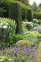 Herbaceous border at Clinton Lodge Garden, Fletching, East Sussex, early August. Containing Agapanthus,  Geraniums, Nepeta, white Phlox paniculata 'Mount Fuji', and Sedum.
