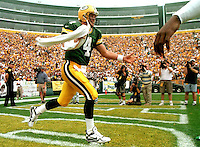 Brett Favre is introduced at the beginning of a game at Lambeau Field.