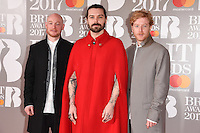 Biffy Clyro - Ben Johnston, Simon Neil, James Johnston at the 2017 Brit Awards at the O2 Arena in London, UK. <br /> 22 February  2017<br /> Picture: Steve Vas/Featureflash/SilverHub 0208 004 5359 sales@silverhubmedia.com