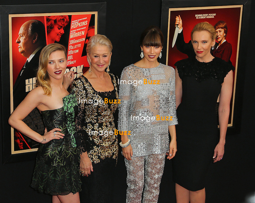 "Photo by: Jackson Lee/starmaxinc.com.©2012.ALL RIGHTS RESERVED.Telephone/Fax: (212) 995-1196.11/18/12.Scarlett Johansson, Helen Mirren, Jessica Biel and Toni Collette at the premiere of ""Hitchcock""..(NYC)"