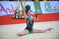 Liubov Charkashyna of Belarus performs  with ball during event finals at 2010 Grand Prix Marbella at San Pedro Alcantara, Spain on May 16, 2010. Liubov placed 5th AA at Marbella 2010. (Photo by Tom Theobald).