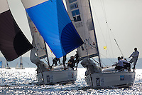 Ian Ainslie to windward of Adam Minoprio during day 2 of Match Race Germany. World Match Racing Tour. Langenargen, Germany. 21 May 2010.