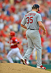 2 September 2012: St. Louis Cardinals pitcher Jake Westbrook steps off the mound after serving up a solo home run to Kurt Suzuki during game action against the Washington Nationals at Nationals Park in Washington, DC. The Nationals edged out the visiting Cardinals 4-3, capping their 4-game series with three wins. Mandatory Credit: Ed Wolfstein Photo