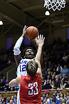 08 November 2014: Duke's Justise Winslow (12) shoots over Central Missouri's Kyle Wolf (33). The Duke University Blue Devils hosted the University of Central Missouri Mules at Cameron Indoor Stadium in Durham, North Carolina in an NCAA Men's Basketball exhibition game. Duke won the game 87-47.