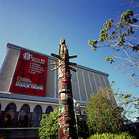 Victoria, BC, Vancouver Island, British Columbia, Canada - Royal BC Museum and Kwakwaka'wakw (Kwakiutl) Totem Pole (carver Richard Hunt)