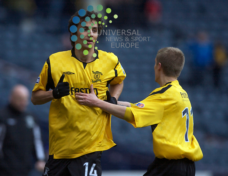 Scottish Irn-Bru Third Division Championship Season 2009/10.Queens Park Football Club  v Livingston Football Club...  Livingstons Raffa De Vitta celebrates scoring with Bobby Barr    , during today's thrilling encounter between Queens park and the Leagues runaway leaders Livingston at The National Stadium, Hampden Park..Hampden Park, Glasgow...Picture, Mark Davison/Universal News and Sport.