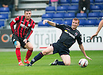 Ross County v St Johnstone...10.08.14  SPFL<br /> Michael O'Halloran shoots for goal<br /> Picture by Graeme Hart.<br /> Copyright Perthshire Picture Agency<br /> Tel: 01738 623350  Mobile: 07990 594431