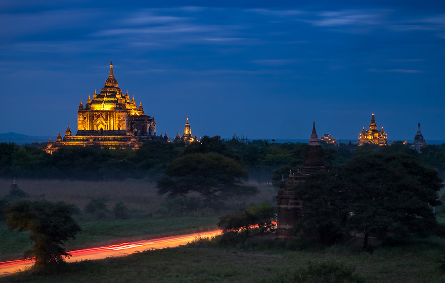 View of the Thatbyinnyu Temple at twilight in Bagan, this is the tallest of all temples and it was built in 1144