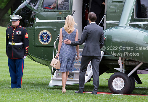 Jared Kushner and Ivanka Trump board Marine One to join United States President Donald J. Trump as they depart the White House in Washington, DC  for a trip to New York City on Thursday, May 4, 2017.<br /> Credit: Ron Sachs / CNP