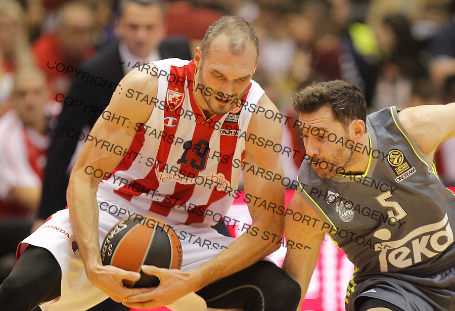 Kosarka Euroleague season 2015-2016<br /> Euroleague <br /> Crvena Zvezda v Real Madrid<br /> Marko Simonovic and Rudy Fernandez (R)<br /> Beograd, 27.11.2015.<br /> foto: Srdjan Stevanovic/Starsportphoto &copy;