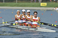 Brest, Belarus.  CAN BM4+, Bow, James CLINTON, Blake PARSONS, James LEWIS, Josh MORRIS and cox Ronan SABO-WALSH, at the start.  2010. FISA U23 Championships. Thursday,  22/07/2010.  [Mandatory Credit Peter Spurrier/ Intersport Images]