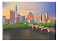 Austin Skyline at Dusk with a beautiful golden-light glow that fades to blue while looking over the Congress Avenue Bridge as people gather to watch the evening bat flight spectacle, illustration graphic.