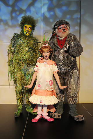 FORT LAUDERDALE FL - DECEMBER 16 : Stefan Karl as The Grinch, Rachel Katzke as Cindy Lou Who and Bob Lauder as Old Max pose for a portrait during media day at The Broward Center on December 16, 2015 in Fort Lauderdale, Florida. Credit: mpi04/MediaPunch