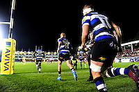 Bath Rugby players run out onto the field for the start of the match. Aviva Premiership match, between Bath Rugby and Sale Sharks on October 7, 2016 at the Recreation Ground in Bath, England. Photo by: Patrick Khachfe / Onside Images