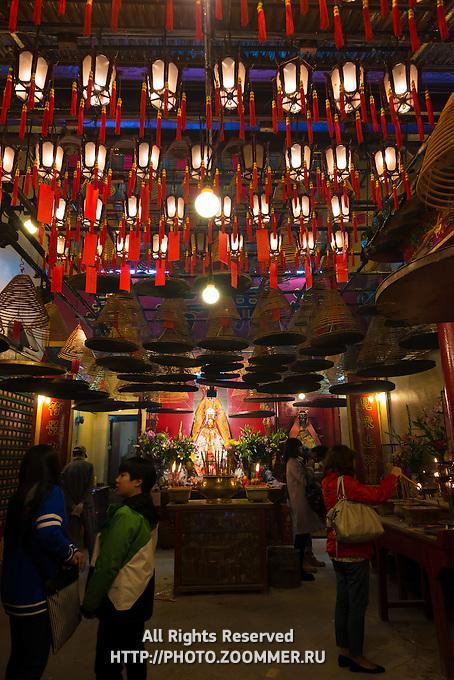 Red lanterns inside Man Mo temple in Hong Kong