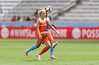 Houston, TX - Saturday April 15, 2017: Rachel Daly attempts to take control of a loose ball during a regular season National Women's Soccer League (NWSL) match between the Houston Dash and the Chicago Red Stars at BBVA Compass Stadium.