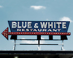 Blue & White restaurant sign in Tunica, Miss.