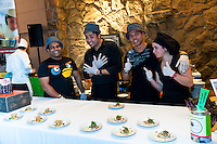Chef Dewey Truong and Chococrepe team with .Savoury Pulled Pork Mini Crépes and Vegetarian Mini Crépes at FoodShare Toronto's Recipe for Change, February 28,  2013