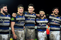 Bath Rugby players are all smiles after the match. Aviva Premiership match, between Gloucester Rugby and Bath Rugby on March 26, 2016 at Kingsholm Stadium in Gloucester, England. Photo by: Patrick Khachfe / Onside Images