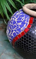 Detail of mosaic garden pot created by artist Debra Yates