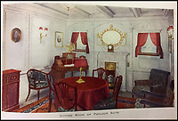 BNPS.co.uk (01202 558833)<br /> Pic: HAldridge/BNPS<br /> <br /> The sitting room of the palour suite.<br /> <br /> Incredibly rare illustrations and photos of the opulent surroundings of the Titanic have come to light in two brochures which describe the doomed ship as 'practically unsinkable.'<br /> <br /> The colour drawings depict the plush accommodation and facilities that first and second class passengers enjoyed on the luxury liner.<br /> <br /> They offer rare glimpses of the promenade deck, reading room, swimming baths, smoking room, main staircase, the Turkish bath, state room and parlour suit accommodation, dining room and reception room.<br /> <br /> Alongside the images there is an equally scarce copy of the sailing schedule for the doomed ship, highlighting its 'lost' trans-Atlantic service.<br /> <br /> The itinerary shows the Titanic would have gone on to make four trips from Southampton to New York between April to July 1912 had it not sunk on its maiden voyage with the loss of 1,522 lives.<br /> <br /> The two brochures and sailing schedule have now been put up for sale 105 years after the tragedy. They have a pre-sale estimate of a combined &pound;20,000.