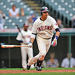 13 September 2008: Cleveland Indians' catcher Victor Martinez at bat against the Kansas City Royals at Progressive Field in Cleveland, Ohio. The Indians fell to the Royals 8-3 in the first game of their rain delayed double-header...Mandatory Photo Credit: Ed Wolfstein Photo