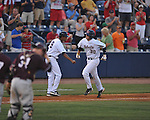 Ole Miss'  WIll Allen hits a solo home run at Oxford-University Stadium in Oxford, Miss. on Thursday, May 12, 2011. Mississippi State won 7-6. (AP Photo/Oxford Eagle, Bruce Newman)