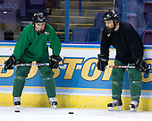 T.J. Oshie (University of North Dakota - Warroad, MN), Chris Porter (University of North Dakota - Thunder Bay, ON) - The University of North Dakota Fighting Sioux take part in morning skate on Thursday, April 5, 2007, at the Scottrade Center in St. Louis, Missouri.