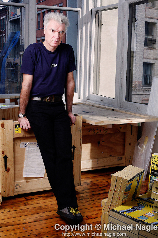 NEW YORK - JANUARY 04, 2007:  David Byrne poses in his Soho studio on January 04, 2007 in New York City. (PHOTOGRAPH BY MICHAEL NAGLE)