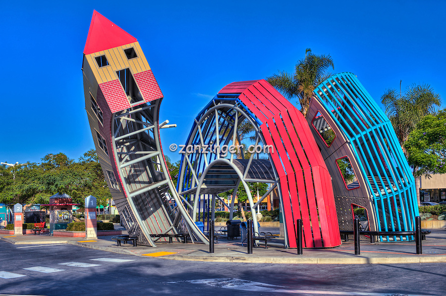 Ventura, CA, Bus Stop, Public Art, Bus Shelter, twisting, arching perforated steel sculpture, abstract, house
