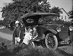 Erie PA:  Stewart family and in-laws off to the Lake Erie Shore with new baby Helen in their new 1917 Chevrolet series 490.