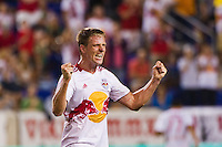 Jan Gunnar Solli (8) of the New York Red Bulls celebrates at the final whistle. The New York Red Bulls  defeated the Portland Timbers 3-2 during a Major League Soccer (MLS) match at Red Bull Arena in Harrison, NJ, on August 19, 2012.
