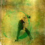 Modern dancer with positive green energy circle. Photo based illustation.