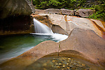 Basin Brook cascades through the Basin in Franconia Notch State Park, NH, USA