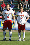 16 November 2008: Maryland's Michael Marchiano (16) and Rich Costanzo (6). The University of Maryland defeated the University of Virginia 1-0 at WakeMed Stadium at WakeMed Soccer Park in Cary, NC in the men's ACC tournament final.