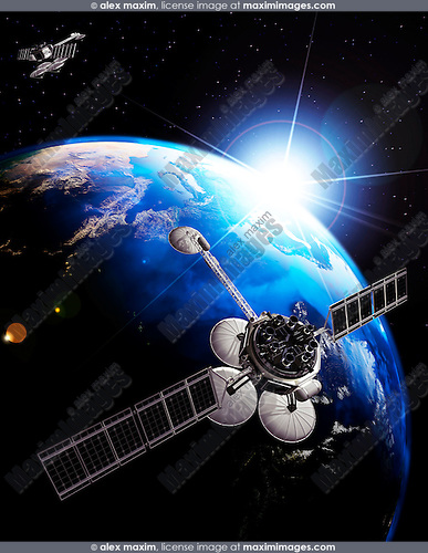 Communication satellites above Earth lit by the rising Sun. Space internet and telecommunications concept. Photorealistic 3D illustration.