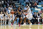 16 February 2017: Georgia Tech's Kaylan Pugh (1) and North Carolina's Jamie Cherry (right). The University of North Carolina Tar Heels hosted the Ramblin' Wreck from Georgia Tech University at Carmichael Arena in Chapel Hill, North Carolina in a 2016-17 NCAA Division I Women's Basketball game. North Carolina won the game 89-88.