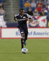 New England Revolution midfielder Sainey Nyassi (14) moves down the wing. The New England Revolution defeated the New York Red Bulls, 3-2, at Gillette Stadium on May 29, 2010.