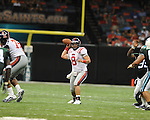Ole Miss quarterback Jeremiah Masoli (8) passes to Ole Miss running back Brandon Bolden (34) at the Louisiana Superdome in New Orleans, La. on Saturday, September 11, 2010. Ole Miss won 27-13.