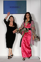 Fashion designer Telina Webb, walks runway with model at the close of her KabukiU Spring 2012 fashion show, at Nolcha Fashion Week Spring 2012.