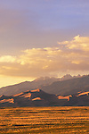 Evening light on sand dunes and the Sangre de Cristo Mountains, Great Sand Dunes National Monument, Colorado