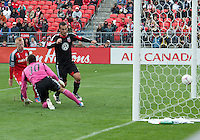 06 October 2012: D.C. United forward Hamdi Salihi #9 scores the only goal during an MLS game between DC United and Toronto FC at BMO Field in Toronto, Ontario Canada. .D.C. United won 1-0..