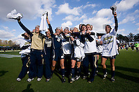 Notre Dame celebrates with their fans after the final of the NCAA Women's College Cup at WakeMed Soccer Park in Cary, NC.  Notre Dame defeated Stanford, 1-0.