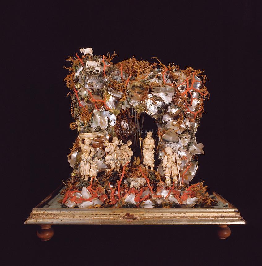 Trapani, Pepoli museum: Sicilian crib made of coral, ivory and nacre (18th century).<br /> Trapani, museo Pepoli: presepe siciliano fatto con corallo, avorio e madreperla, (maestranze siciliane XVIII sec.)