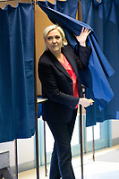 Marine Le Pen votes during the 2nd tour of the French Presidential election : France