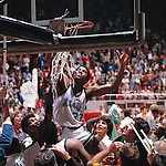 26 MAR 1979:  Michigan State guard Earvin &quot;Magic&quot; Johnson (33) cuts down the net after winning the NCAA Men's National Basketball Final Four championship game in Salt Lake City, UT, at the Special Events Center. Johnson was named Most Outstanding Player (MVP) for the tournament. Michigan State defeated Indiana State 75-64 to win the national title. Rich Clarkson/NCAA Photos.SI CD 0022-15