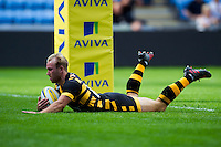 Dan Robson of Wasps scores a first half try. Pre-season friendly match, between Wasps and Yorkshire Carnegie on August 21, 2016 at the Ricoh Arena in Coventry, England. Photo by: Patrick Khachfe / JMP